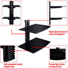 2 Tier 2 Dual Glass Shelf Wall Mount Bracket Under TV Component Cable DVR/DVD