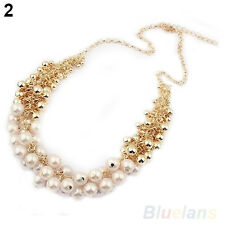 Women Multilayer Faux Pearl Choker Collar Bib Statement Chain Necklace Pretty