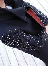 Zara Navy Wool Blend Studded Sleeve Coat. Size XS (UK8). In VGC