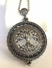 Silver Plated Tree of Life Necklace Magnifying Glass Vintage Long 34 inches Plus