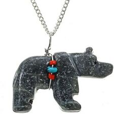 Bear Serpentine Fetish Pendant  with Chain by Navajo Tony Turpin