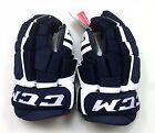 """New CCM Control ice hockey gloves navy white senior 15"""" sr size blue"""