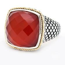 Andrea Candela 18k Gold Sterling Silver Dublet Red Agate Cushion Ring ACR89-RA