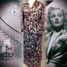 Vintage 1930s Silk Satin Suit 12-14 Oriental Dress Floral 40s Satin Jacket Skirt