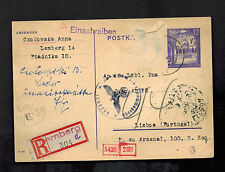 1942 Lemberg Poland Cover to Lisbon Portugal War Relief Effort Undercover Addres