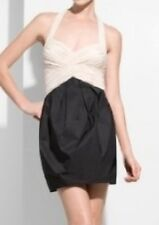 BCBG MAX AZRIA DRESS 2 XS COCKTAIL PARTY HALTER TIE BACK PLEATED VAPOR BLACK NUD