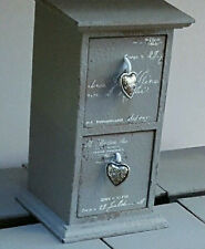 """gORGEOUS GREY shabby chic wooden  jewellery drawers WITH HEART PULLS.-7""""X4""""3.5"""""""