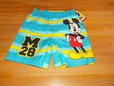 Size 3T Disney Mickey Mouse Swim Trunks Board Shorts Blue Yellow Striped New
