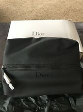 Christian DIOR Parfums Black Faux Leather POUCH Cosmetic Hand Bag men case box