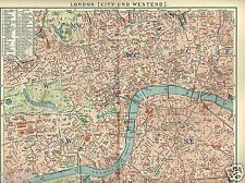1902= LONDON = City & Westend = Londra = Antica MAPPA= OLD MAP