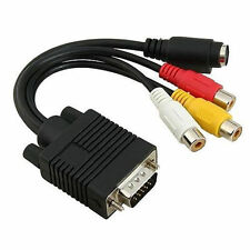 VGA a RCA compuesto de S-video 3 Audio Video TV Out Adaptador Convertidor de Cable para PC Laptop