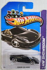 HOT WHEELS 2013 HW SHOWROOM FERRARI 458 SPIDER BLACK INTERIOR VHTF