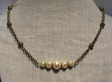 BRONZE GLASS CREAM BAROQUE PEARL FILIGREE BAR NECKLACE MINIMALIST POPULAR STYLE