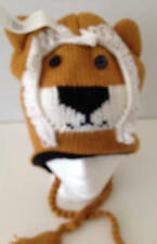 Winter Sweater Knit Animal Hat Gold Ivory Lion Fleece Lined Child/Tween Size