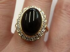 14ct Or Onyx & Diamond Ring Size L 1/2