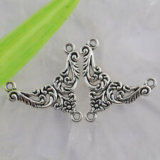 Ed1425 12pcs Tibetan silver color flower plant 1-2holes connector