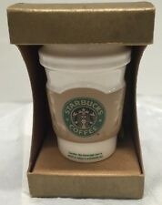 New~Starbuck Holiday Tree Ornament 2008 Ceramic Hot To Go Cup with Sleeve Mini