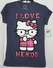 Hello Kitty Tee I LOVE NERDS NICE CHRISTMAS GIFT FREE SHIPPING LARGE NWT