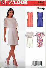 NEW LOOK SEWING PATTERN 6342 MISSES SZ 8-20 EASY DRESS W/ OR WITHOUT OVERBODICE