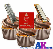 Keep Calm Harmonica Mix 12 Edible Stand Up Cup Cake Toppers Blues Jazz Folk