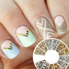 500Pcs Nail Art Studs Gold Silver Round Rhinestone Stickers Tips 1.2mm/2mm/3mm