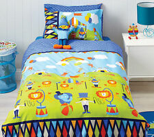 Cubby House Kids Circus Fun Animal Reversible SINGLE Size Quilt Doona Cover Set