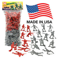 TimMee Processed Plastic Army Men: 100 Gray vs Red Tim Mee Toy Soldier Figures