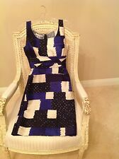OSCAR DE LA RENTA BLUE MULTI COLOR SHEATH DRESS, Size 2