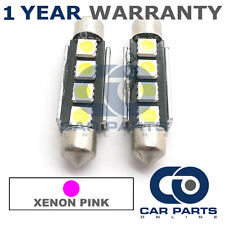 2X PINK CANBUS NUMBER PLATE INTERIOR 4 SUPER BRIGHT SMD LED BULBS 44MM 10PX2