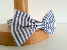 BOY'S PAGEBOY WEDDING DICKIE BOW TIE - CHAMBRAY BLUE & WHITE STRIPE