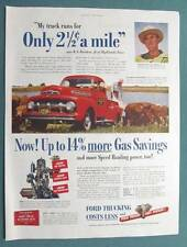 11 x 14 1952 Ford Truck Photo Endorsed Ad Featuring W E Worthen of Highlands TX