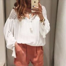 Zara Off White Combined Lace Blouse Top With Puffed Sleeve Size L - UK 12 - BNWT