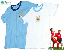 Marks and Spencer MANCHESTER CITY 2 PACK Boys Cotton Short Sleeved Tee Vests 7-8