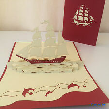 all occasions 3D card gift greeting thanks wedding birthday pop up boat