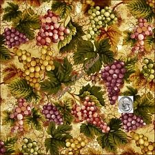 "RK ""VINEYARD COLLECTIONS"" MERLOT GRAPE CLUSTERS 13623-102 FABRIC PRICED @ 1/2 YD"