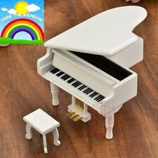 WOOD WHITE PIANO WIND UP MUSIC BOX : SOMEWHERE OVER THE RAINBOW