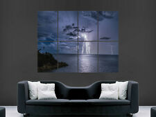 LIGHTNING STRIKE POSTER OCEAN SEA TROPICAL NATURE LARGE GIANT WALL PICTURE