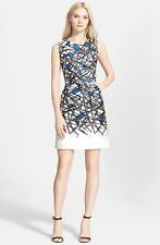 $395 NWT Milly COCO Crossmatch Cobalt Blue White Black Sheath Sateen Dress 10