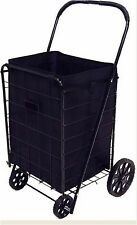 Shopping Cart Liner Folding Wheel Trolley Basket Black Grocery Storage Bag Large