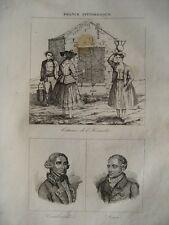 Gravure XIXè -Costumes de l'Hérault-Cambacéres - Daru- Hérault-1835