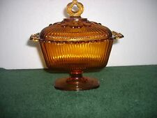"Vintage Indiana glass amber ribbed covered candy dish pedestal 7""L&H"