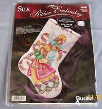 "BUCILLA SILK RIBBON EMBROIDERY CROSS STITCH STOCKING KIT ""HARK THE HERALD ANGELS"
