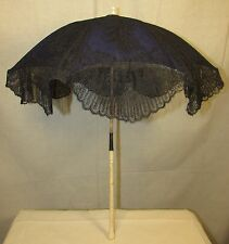 MID-19TH CENTURY CHANTILLY LACE PARASOL, CARVED BONE HANDLE, SILK LINING