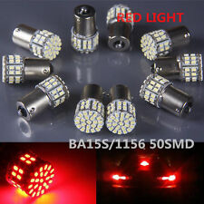 10X Red Ba15s 1156 50SMD LED Car Rear Turn Light Signal Super Bright Bulb 12/24v