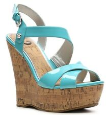 New G by Guess HELIX Strappy Cork Wedge Sandal Platform Heel Shoe Turquoise 9.5