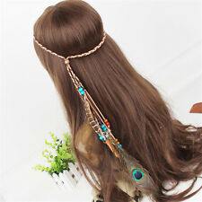 Boho Indian Vintage peacock Feather Hairdress Weave Headpieces Headband
