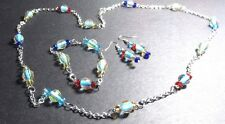 Necklace ,Bracelet And Earrings To Match Lamp Work Beads And Swarvorski Crystal