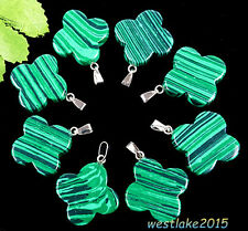 8 pcs Charming Green Malachite Four Leaf Clover Pendant Bead  By667