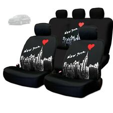NEW BLACK FABRIC NEW YORK SKYLINE FRONT AND REAR SEAT COVERS SET FOR KIA