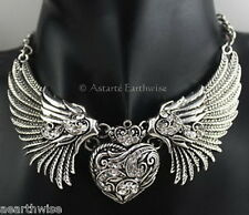 ANGEL WINGS WITH HEART NECKLACE Wicca Witch Pagan Goth Reiki
